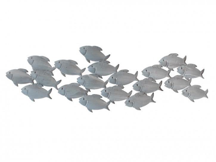 20102 Metal Wanddeko Fischschwarm