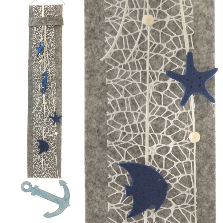 20819 Filz-Banner Maritim, grau/blau