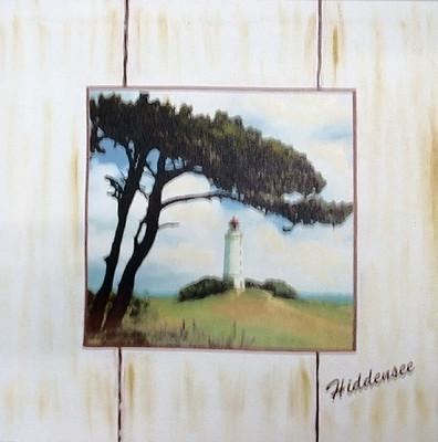 20914  Leinenbild Leuchtturm Hiddense
