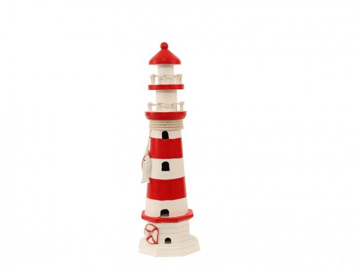 22537 Leuchtturm rot/weiß HOLZ 41cm
