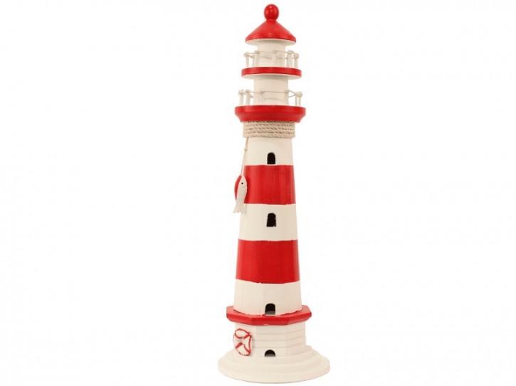 22539 Leuchtturm rot/weiß HOLZ 55cm