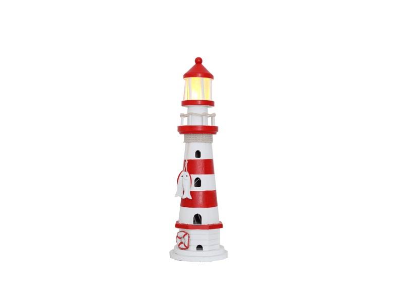 22547 Leuchtturm rot/weiß HOLZ 41cm