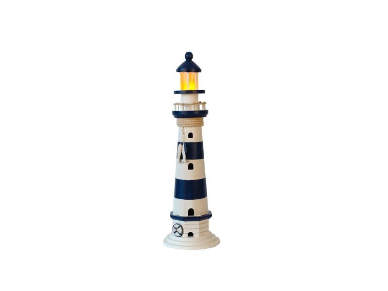 22548 Leuchtturm blau/weiß HOLZ 41cm