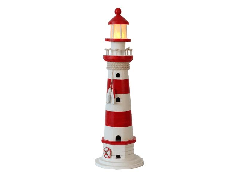 22549 Leuchtturm rot/weiß HOLZ 55cm