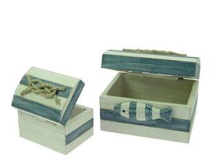 23461  Kisten Set blau-weiß mit Fisch