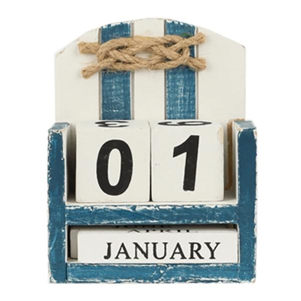 23462  Kalender mit Knopf blau / weiß