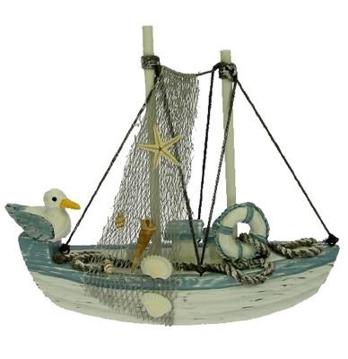 23762 Boot Antik mit Möwe auf Heck