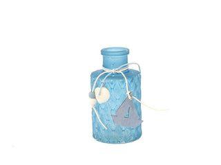 24128  Vase blau mit Dekoration 9cm