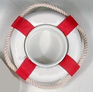 24245 Teelicht Rettungsring ROT/weiß