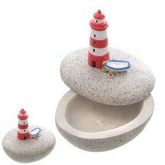 24454 Schale mit Deckel, Leuchtturm,