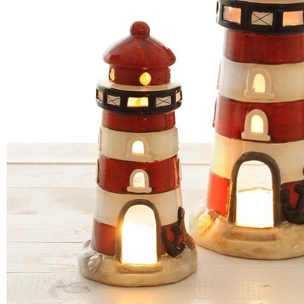 25763 Windlicht Leuchtturm, rot/weiß