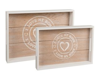26550 Weißes Holz-Tablett,