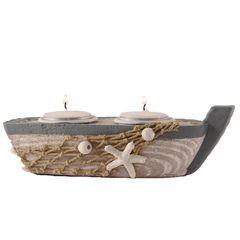 26610  Teelicht Boot mit 2LICHT 18cm