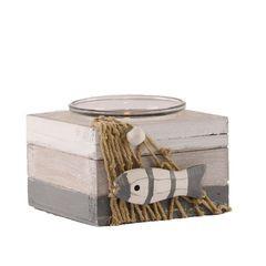 26611  Teelichthalter grau/weiß
