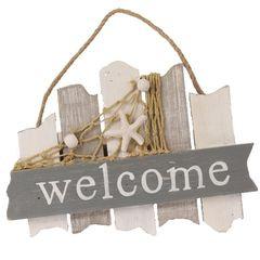 26623  Welcome Schild grau/weiß