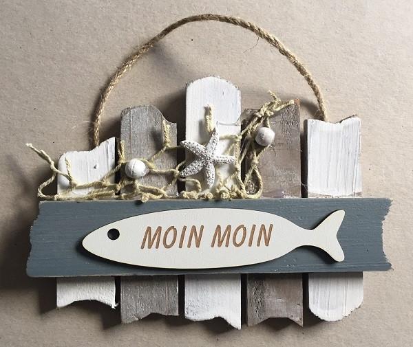 26634  Schild grau/weiß MOIN MOIN