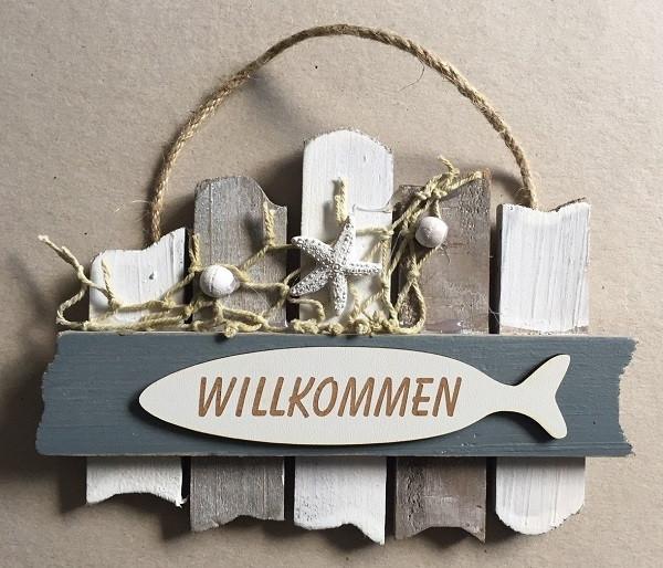 26636  Schild grau/weiß WILLKOMMEN