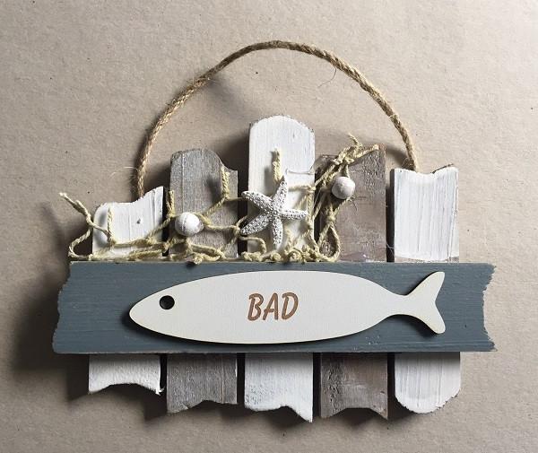 26637 Schild grau/weiß BAD
