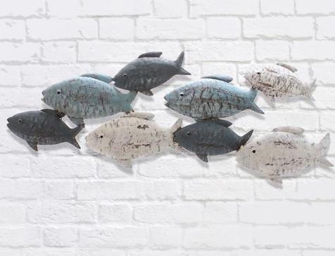 26646 Wanddeko Fische, creme/blau