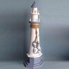 26660  Holz Leuchtturm groß 47x14x14c