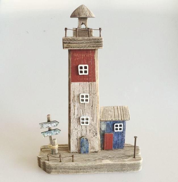 26673 Holz Leuchtturm auf Basis 18,5