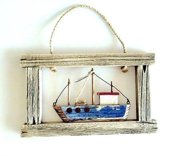 26678  Holz Wanddeko Fischerboot 38x1
