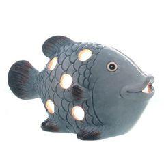 26893 Windlicht Fisch, blau 19x11cm