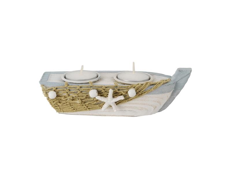26932 Teelicht Boot mit 2LICHT 18cm