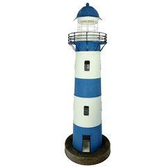 26992  Metall Leuchtturm blau/w. 80cm