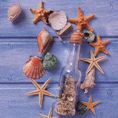 42611 Serviette Sandflasche+Muscheln