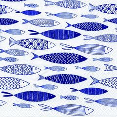 42621 Servietten Shoal of Blue Fish
