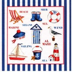 42664 Servietten Beach blau/rot/weiß