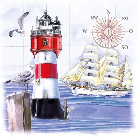 42859 Servietten Lighthouse&Compass