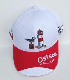 64408 Basecap OSTSEE ROT-WEISS