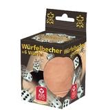 76114 Leder-Würfelbecher + 6 Würfel