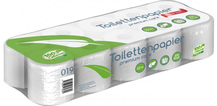 1.9200 - 120 Rollen Toilettenpapier 2 lagig, 200 Blatt, 100% Zellstoff